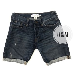 H&M L.O.G.G. Dark Wash Cuffed Denim Shorts